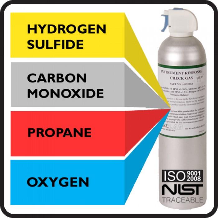 Bump Test Gas - 75 PPM H2S, 100 PPM CO, 50% LEL Propane, 16